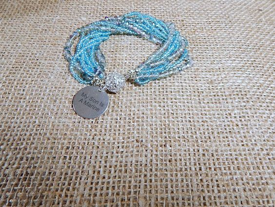 My Son Is A Marine Bracelet Aqua Blue Charm 9 rows of Beads Bracelet Magnetic Close