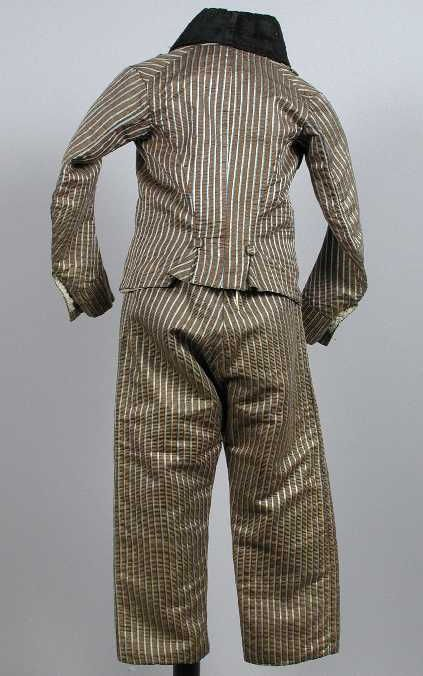 Back view, boy's skeleton-suit, 1775-1800. Pale green, cream and blue striped silk, lined with linen.