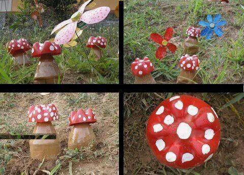 adornos de jardin con botellas de plastico objetos