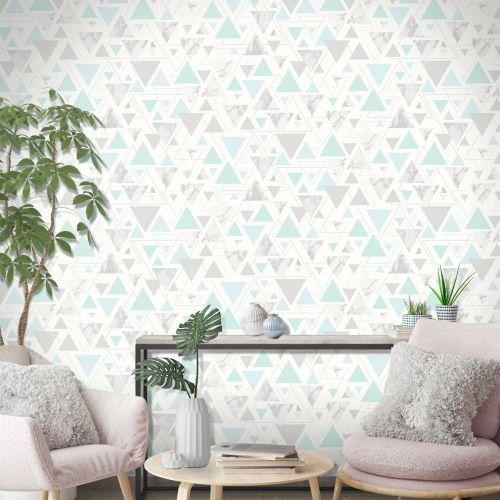 Debona Chantilly Triangle Geo Smooth Modern Marble Metallic Wallpaper