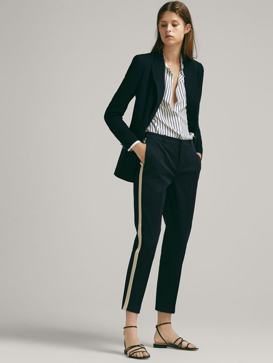 Chinos With Side Stripes Women Massimo Dutti Stripe Pants Outfit Side Stripe Trousers Tuxedo Stripe Pants