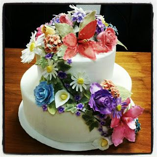 Exquisite Floral Wedding Cake - all handmade gumpaste flowers by Madison.