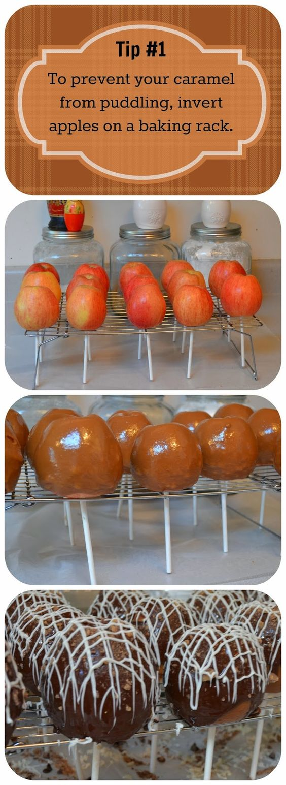 Tips & Tricks for the Perfect Caramel Apple:  How to prevent the caramel from puddling and how to serve so that you get apple and candy in every bite. #halloweentreats #caramel