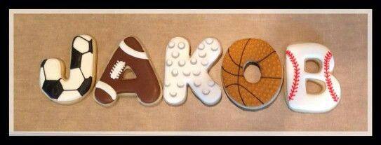 Sports Theme Name.  You can round out the set with sports balls.  Cookie artist unknown.
