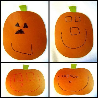 Dry-Erase Pumpkin Face  All you do is:  Cut out a pumpkin or 2 with orange paper.  Add a stem.  Laminate it, or put it in a sheet protector.  And draw different pumpkin faces on it with a dry-erase marker!