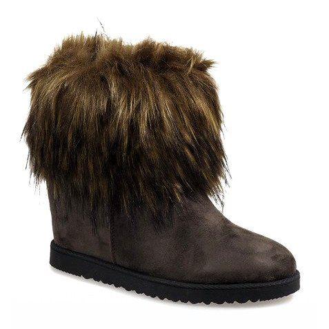 Zielone Eskimoski Ocieplane Na Koturnie E4899 Wielokolorowe Boot Shoes Women Boots Shoe Boots