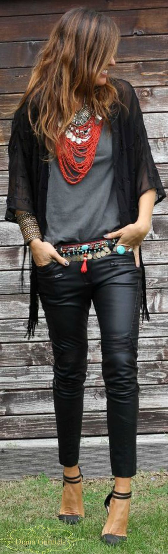 Boho Style, I'd probably wear jeans instead of leather: