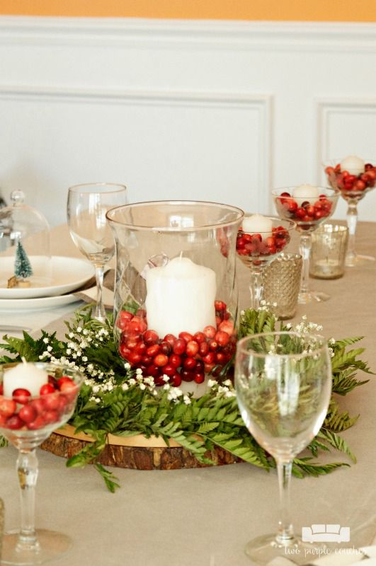 Simple And Natural Christmas Table Decor Two Purple Couches Christmas Table Centerpieces Classy Christmas Decor Holiday Centerpieces