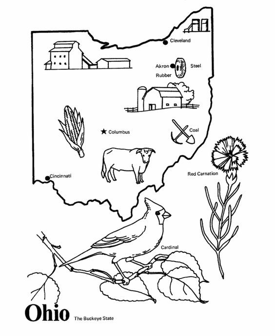 Ohio State Outline Coloring Page Copy The Image And Paste Into Word Coloring Pages Ohio Map Ohio History