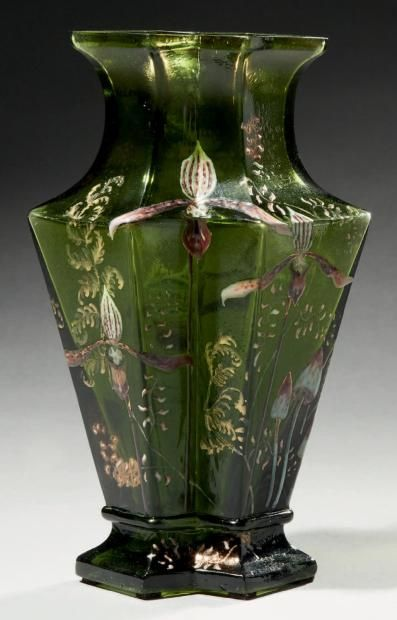 Emile Gallé, Nancy, (1846-1904), Blown, Internal Inclusions, Etched and Enameled Glass Vase.: