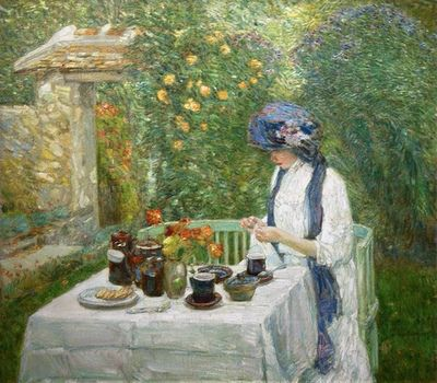 French Tea Garden (also known as The Terre-Cuite Tea Set) by Childe Hassam (1910)