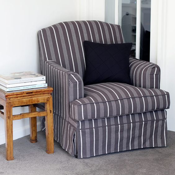 Cottage Armchair Charcoal Stripe
