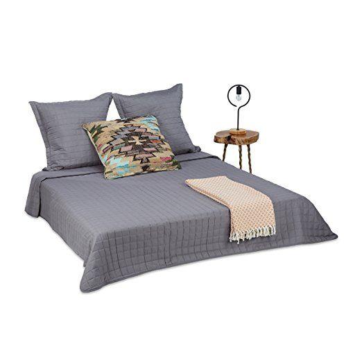 Relaxdays Tagesdecke Set Bettüberwurf Gesteppt 220 X 240 Cm Und 2 Kissenbezüge 80 X 80 Cm Kuscheldecke Waschbar Grau Tagesdecke Bettüberwurf Bettdeckenbezug