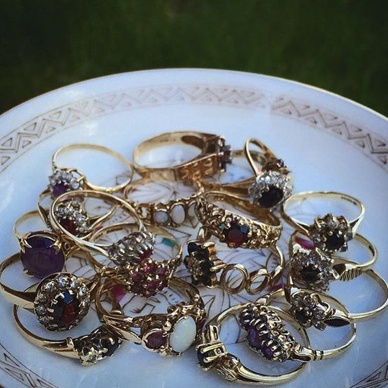 Vintage rings stash. We seek out the best vintage so you don't have to...  #vintage #antique #gold