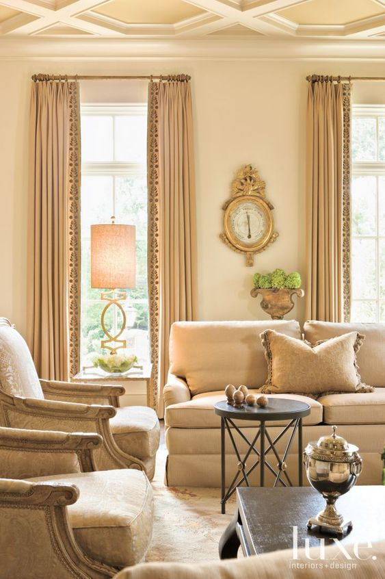 Parisian style living room with neutral decor. Drapery fabric by Holland & Sherry. Beautiful Classically Refined Rooms.