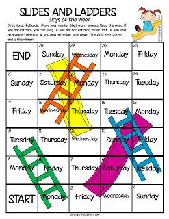 FREE Snakes and Ladders games for months of the year and days of the week!