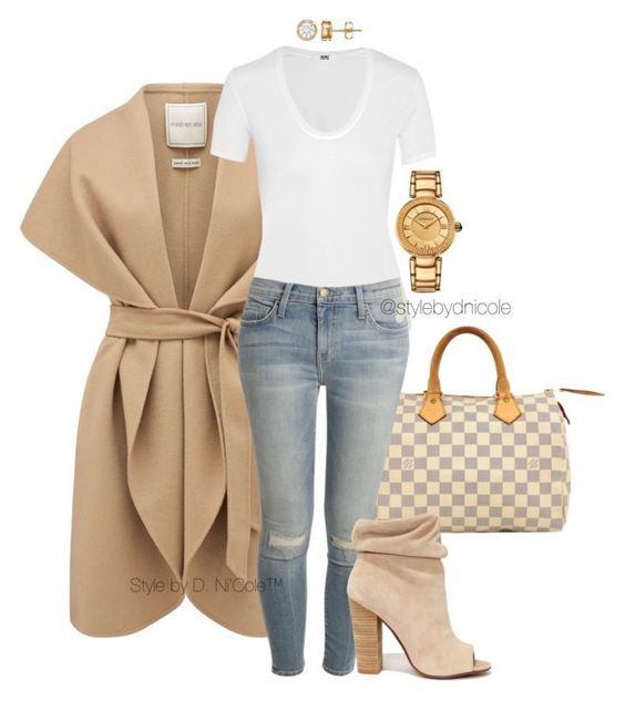 """Untitled #3226"" by stylebydnicole ❤ liked on Polyvore featuring Forever New, Louis Vuitton, Helmut Lang, Current/Elliott, Kristin Cavallari and Versace:"