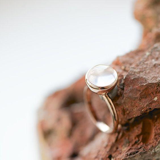 Rosado anillo de oro con cuarzo rosa joyas de por lebenslustiger