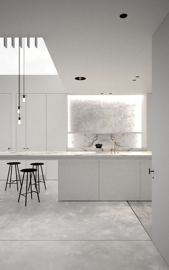 White and marble minimalist kitchen | AD office interieurarchitect Arçen Dockx: