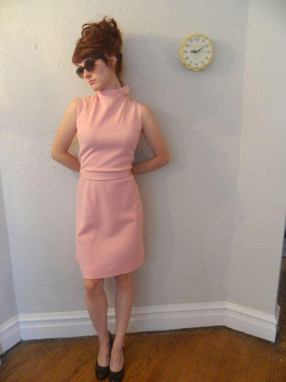 50s-60s pink cocktail Jackie O dress with tie waist.