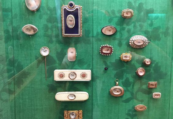 Eye miniatures on display at the Philadelphia Museum of Art.