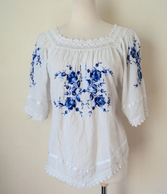Greek Embroidered Peasant Blouse 81