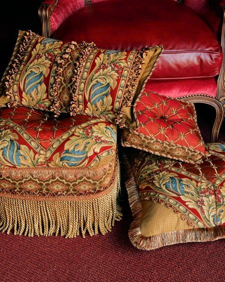 Pillows and leather chair.