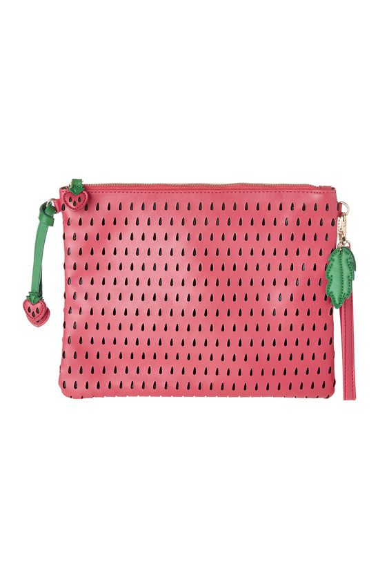 This adorable big clutch looks just like a delicious summer strawberry.Fun novelty clutch with adjustable/optional cross body strap perfect for summer.  Strawberry Clutch by Anzell. Bags - Clutches - Casual Louisville Kentucky