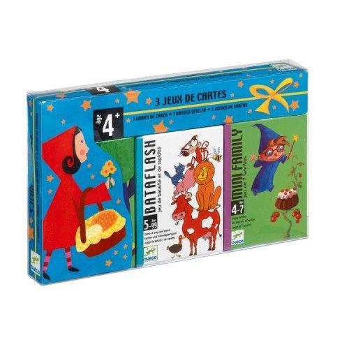 coffret de 3 jeux de cartes 4 ans djeco pour enfant de 4