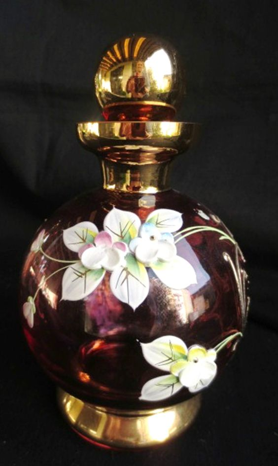Czechoslovakian Red Glass Perfume Bottle Stopper Gold and 3 D Floral Design | eBay