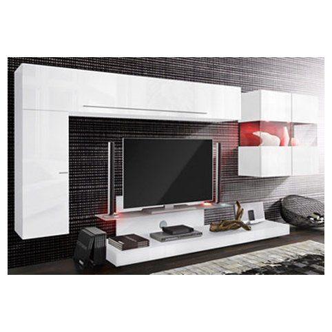 Ensemble de salon 1 armoire + 1 meuble TV + 1 vitrine 2 portes + 1 meuble suspendu - Blanc laqué- Vue 1