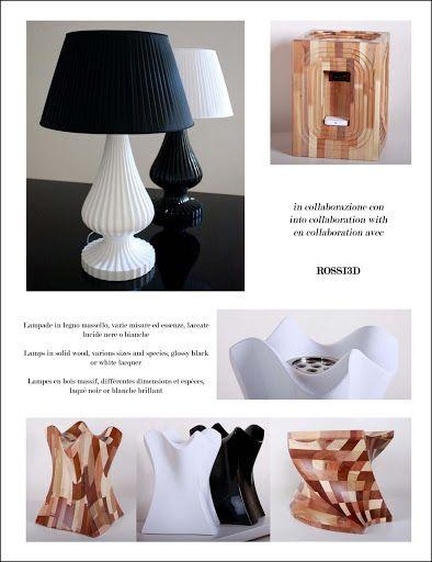 ROSSI3D. Lampade in legno massello, varie misure ed essenze, laccate lucide nere o bianche
