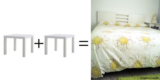 Ikea hack:  Mi reto era fabricar una cabecero de cama con el menor coste posible. Y lo logré utilizando dos mesas Lack de Ikea. Y es que...