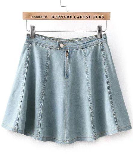 Light Blue High Waist Flare Denim Skirt