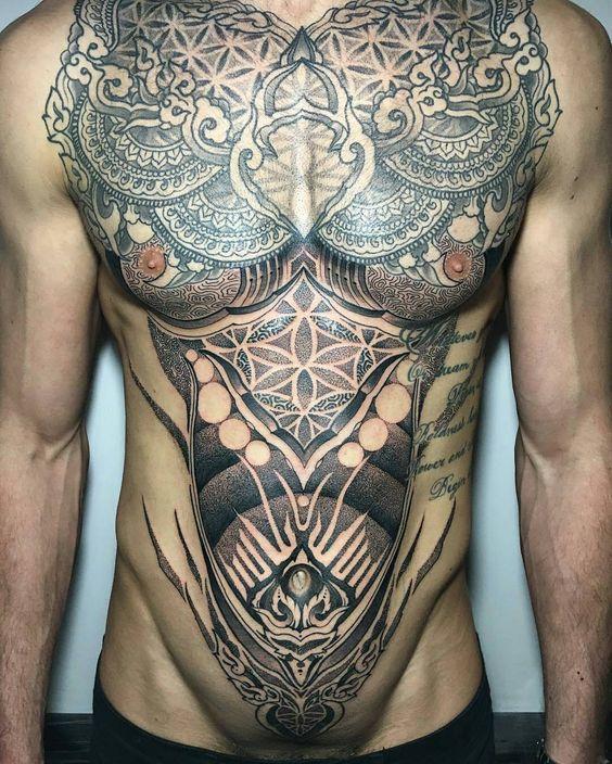 Front Torso tattoo by @raphcemo in Canada #raphcemo #fronttorso #torsotattoo #blackwork #blackworktattoo #sacredgeometry #geometrictattoo #geometrytattoo #tattoo #tattoos #tattoosnob
