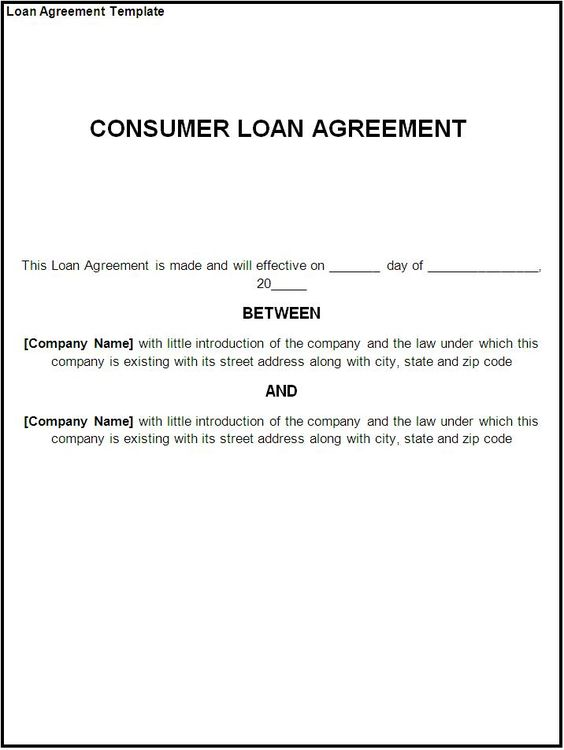 Printable Sample loan contract template Form – Sample Contract for Borrowing Money