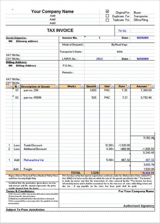 Excel Invoice Template Download Free In 2021 Invoice Template Invoice Format In Excel Invoice Format