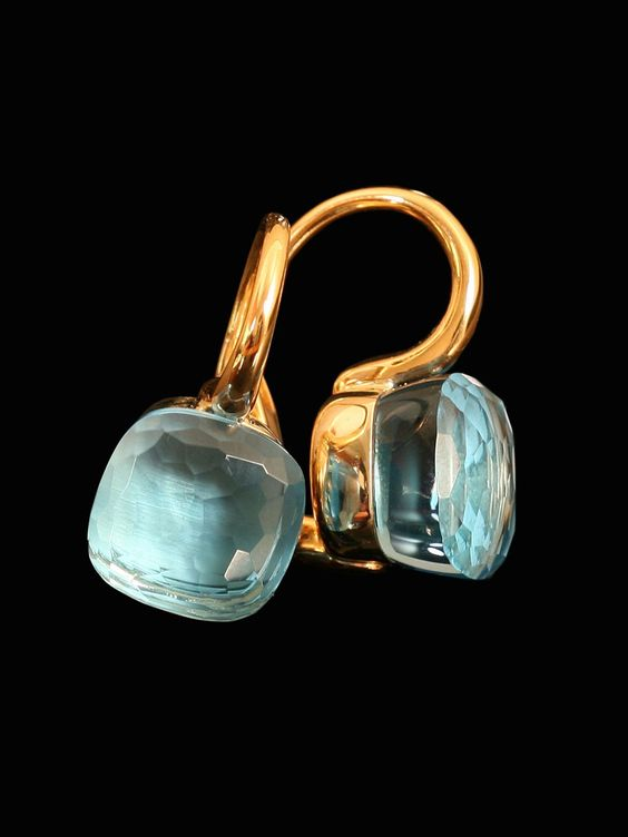 Pomellato 18k Yellow Gold Nudo Blue Topaz Earrings. Available at London Jewelers.