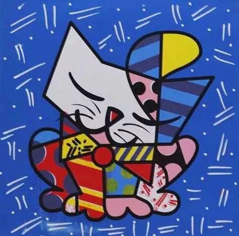 quadro decorativo romero britto gato  30 x 30 cm