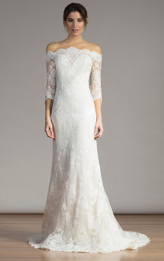 3/4 lace sleeve wedding gown | Liancarlo Spring 2017 | https://www.theknot.com/content/liancarlo-wedding-dresses-bridal-fashion-week-spring-2017