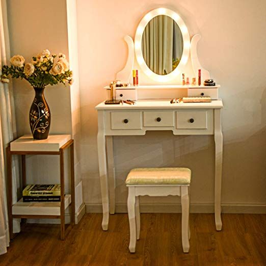 Amazon Com Giantex Vanity Dressing Table Set With Makeup Mirror With 12 Led Lights Removable Top Organ Dressing Table With Stool Drawer Lights Bedroom Vanity