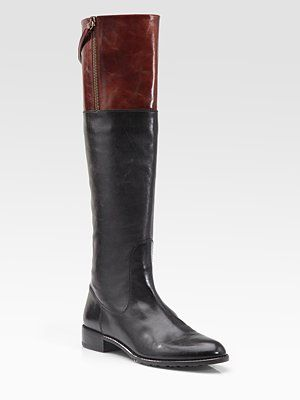 Stuart Weitzman Leather Two-Tone Knee-High Riding Boots