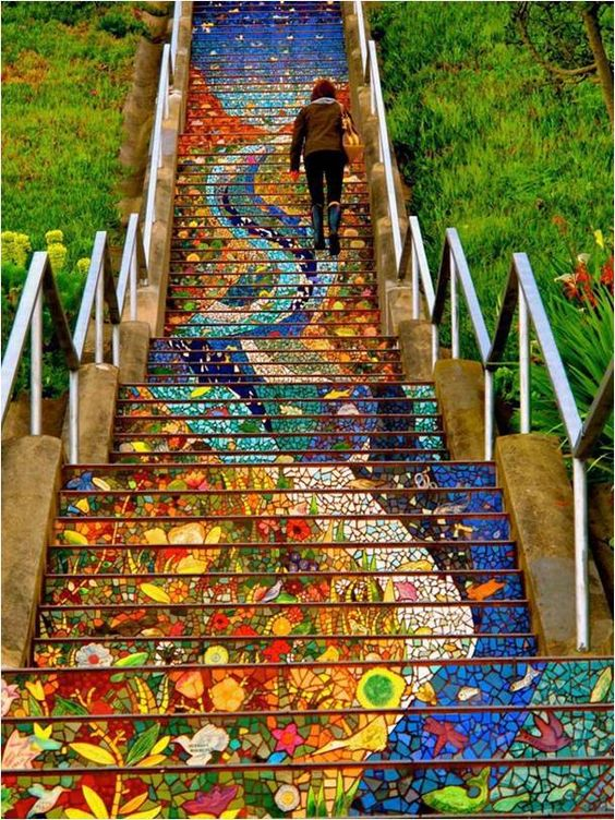 Mosaic tile steps 16th ave San Fran, Ca