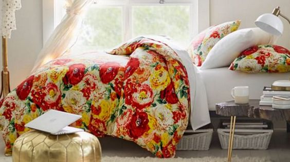 Orange Red and Yellow Floral Duvet and Shams