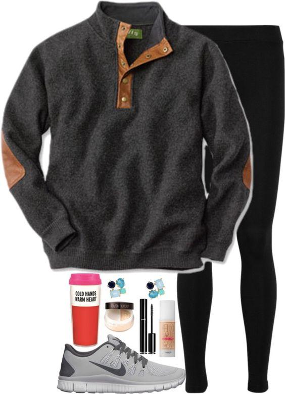 Lazy Preppy School Girl por elizabethjamesw usando Chanel ❤ liked on Polyvore Boiled wool sweater / Vince elastic waist pants, $270 / Nike athletic shoes / Kate Spade blue earrings / Benefit oil free...