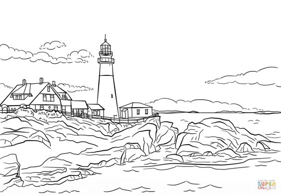 Portland Lighthouse Maine Coloring Page From Buildings Category