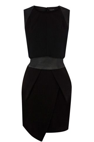 Black Asymmetric Detail Dress