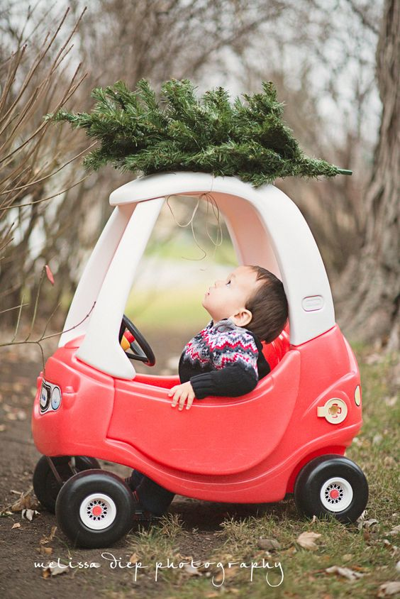 cute funny unique toddler baby holiday christmas photos little tikes car: