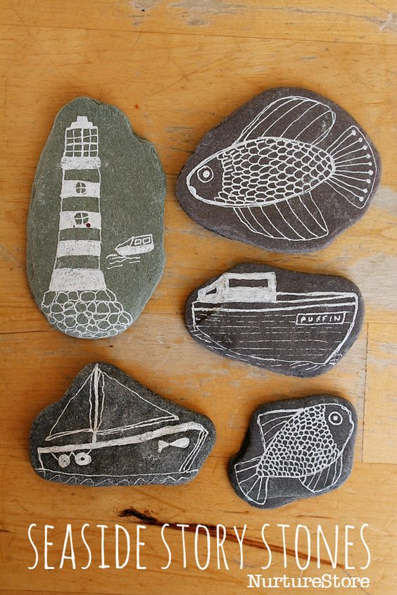 Seaside craft story stones - great for under the sea theme and ocean art projects. Seaside literacy center idea.