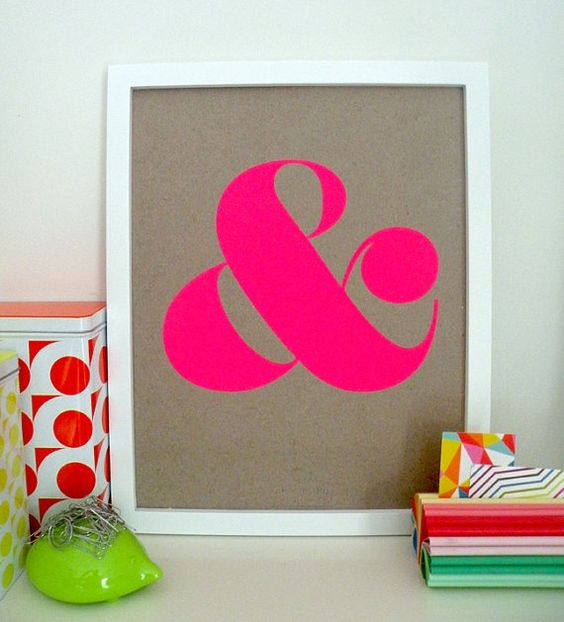 Ampersand Screen Print - Neon Pink